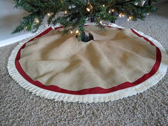 Christmas Tree Skirt In Burlap With Red Accent And Hand