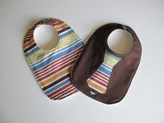 Baby Bib boy tie- Infant 2 pack Gift Set - Brown and stripes