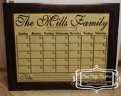Dry erase calendar grid vinyl decal to fit an 18x24 frame