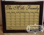 Dry erase calendar grid vinyl decal to fit an 18x24 frame