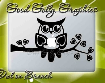 Macbook decal Owl on Branch