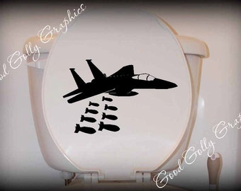 Toilet decal Jet dropping bombs