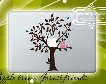 Macbook decal laptop decal: Apple tree with forest friends