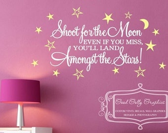 Shoot for the moon vinyl decal Kids room wall graphic