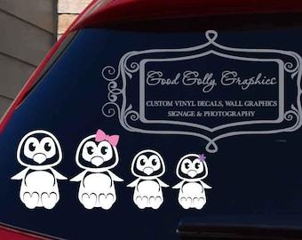 Penguin family car decal