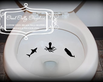 Potty Training Taking Aim toilet targets Sea life 6 piece collection: Shark, octopus, whale, sea horse, anchor, gold fish