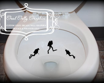 Taking Aim toilet targets: THREE piece collection SCUBA DIVERS