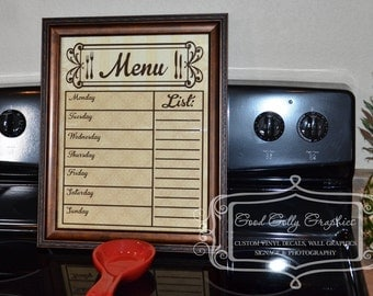Dry erase MENU board vinyl decal to fit an 11X14 frame