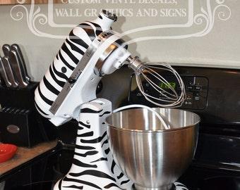 Kitchen mixer vinyl decal ZEBRA PRINT decal set