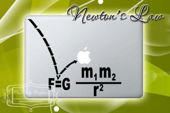 Macbook decal Newton's Law of Gravity