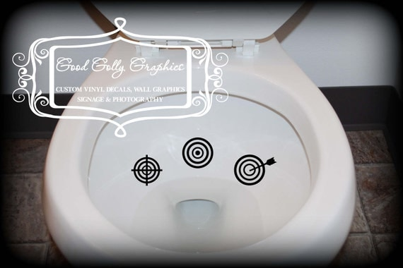 Potty training sticker, toilet decal, Taking Aim toilet targets: THREE piece collection, scope target, bulls eye and target with arrow