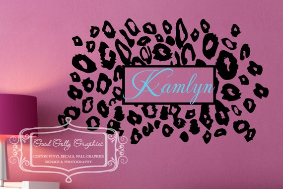 Leopard print with personalized name vinyl wall decal