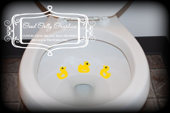 Rubber ducky Taking Aim toilet targets THREE piece collection