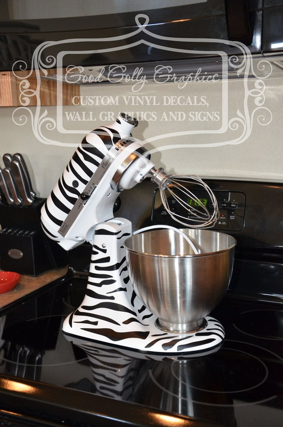 Kitchen mixer vinyl decal ZEBRA PRINT decal set