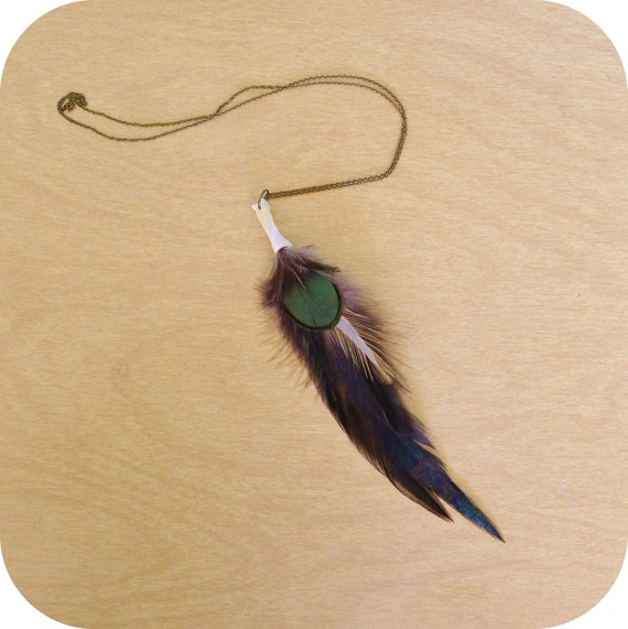 Fox Bone Feather Necklace - Red Fox Foot Bone, Black Feathers