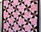 Pink and Brown Pinwheel Baby Quilt