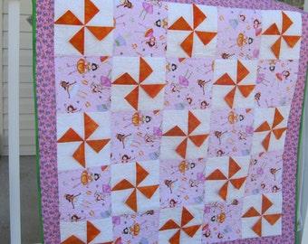 Pink and Orange Princess Pinwheel Baby Quilt