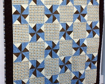 Blue and Brown Polka Dot Pinwheel Baby Quilt
