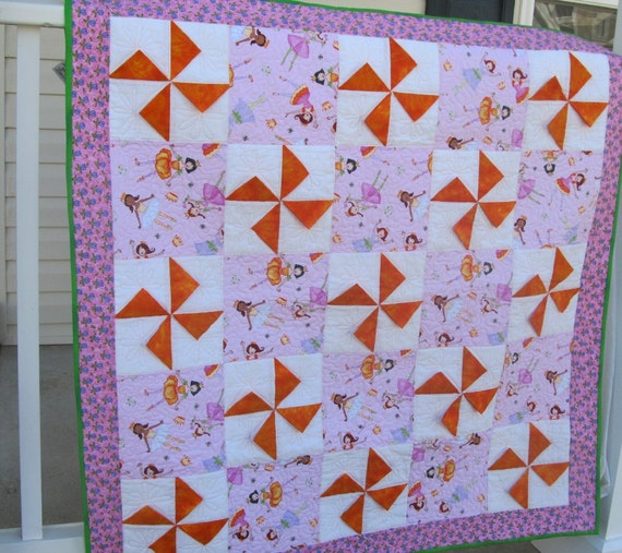 Pink and Orange Princess Pinwheel Baby Quilt