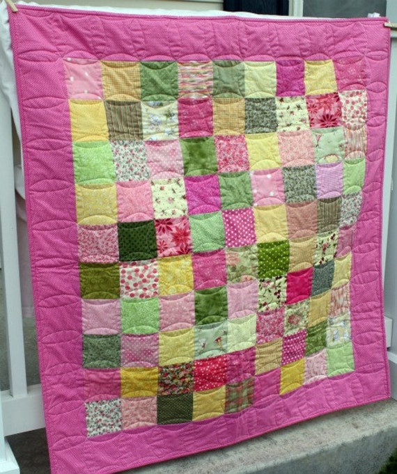Pink, Yellow and Green Patchwork Baby Quilt