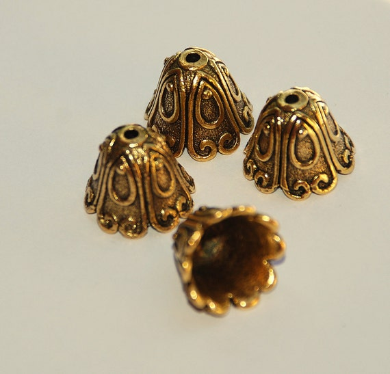 4 Bead Caps, Scroll Pattern 12mm Pewter Antique Gold