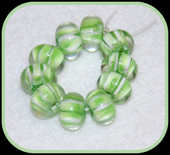 7 Light Green & White Rondelle Lampwork Glass Beads, 12x7mm