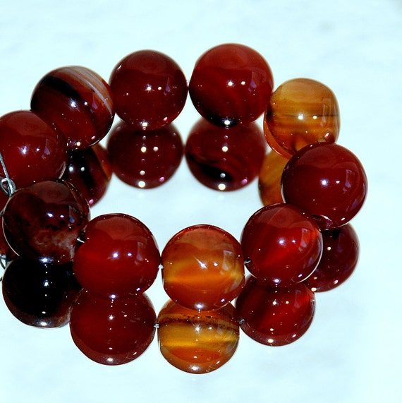 10 Agate Beads 10mm Natural Shiny Brownish Red Agate, Smooth Rounds