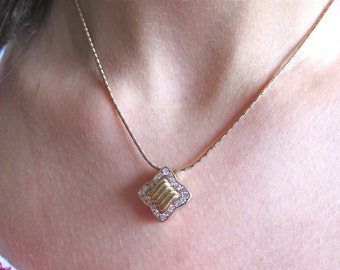 14K Pink & Yellow Gold Diamond Pendent.