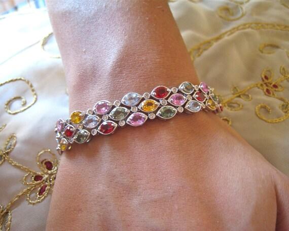multi-color saphire  & Diamond bracelet