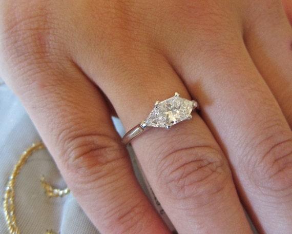 Items Similar To Princess Cut Amp Trillions Three Stones