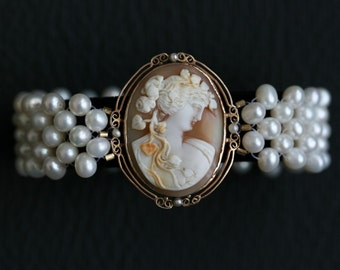 Hand Woven Cameo and Pearl Bracelet with Sapphires and Diamonds. Perfect for Bridal Jewelry