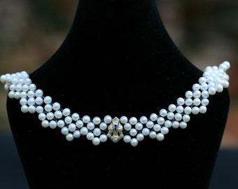 Hand Woven Sapphire & Diamond Pearl Lace Necklace. Perfect for Bridal Jewelry