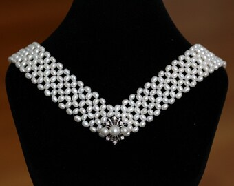 Hand Woven Enchanting Pearl, Diamond and Sapphire Necklace. Perfect for Bridal Jewelry