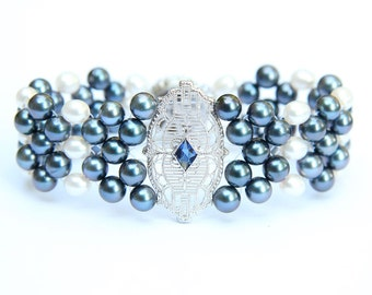Hand Woven Something Blue Art Deco Filigree Sapphire and Pearl Bracelet. Perfect for Bridal Jewelry