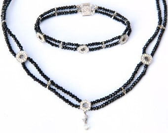 Dazzling Diamond Drop and Black Spinel Necklace and Matching Bracelet
