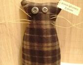 """Primitive Handmade Plush Kitty Rescue OOAK - Kittie Whiskers """"Everett"""""""