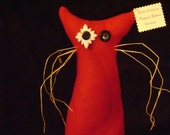 "100% Donation for Andees Surgery -Ready to Ship -  Cat Primitive Handmade Plush Kitty Rescue OOAK- Kittie Whiskers ""Miranda"""