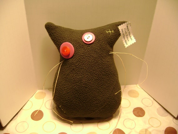 "Plush Cat Donation to Blind Cat Rescue - Ready to Ship - Zombie Edition - Primitive - One of a Kind - Kittie Whiskers ""Out of Date Slate"""