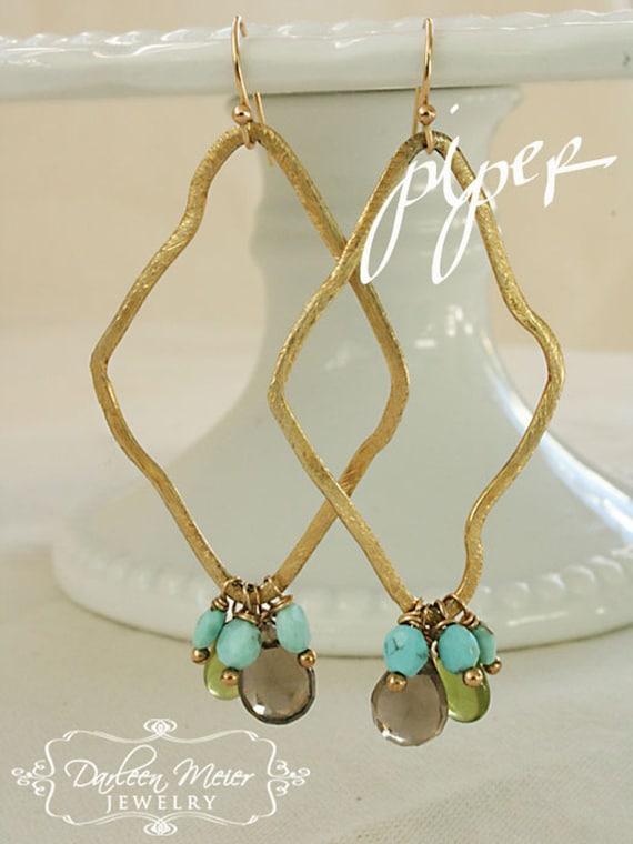 Piper gold plated diamond-shape turquoise smoky quartz peridot earrings