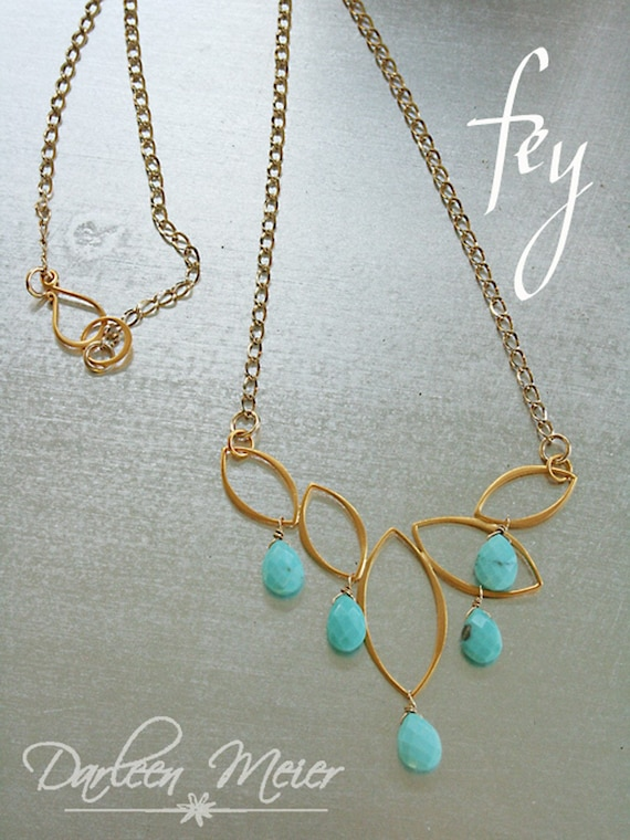 FEY Turquoise gold leaf pendant Necklace