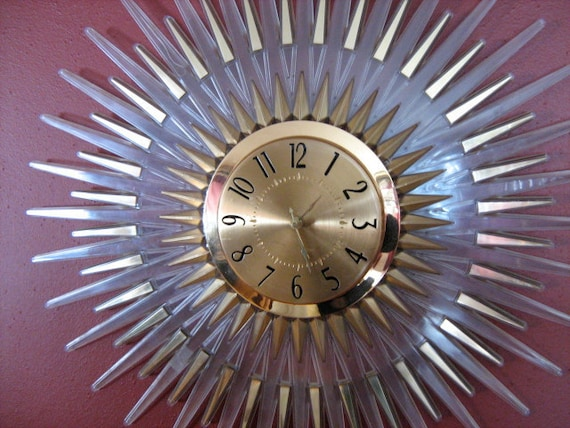 Mid-Century Art Deco Sunburst Clock