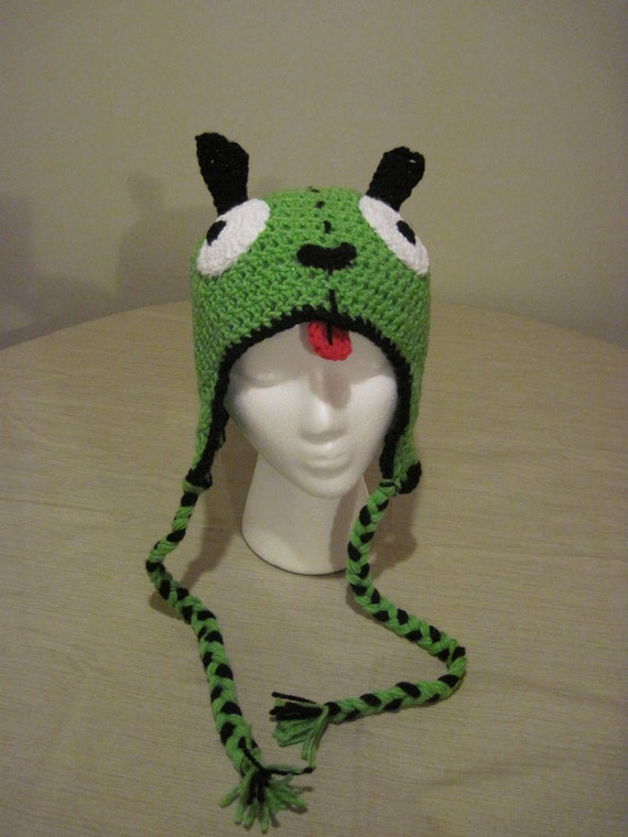 Crochet Invader Zim Patterns : Gir Crochet Hat with Ear Flaps by lissa40511 on Etsy
