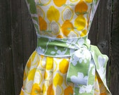 Womens Full Apron - Modern Lemon Print & Sage Accents