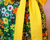 Up-Cycled Brown and Yellow Floral Half Apron - Retro 70's - Camilla Apron