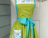 Up-Cycled Women's Apron - Spring Green with Floral Trim
