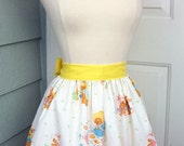 Up-Cycled Easter Half Apron - Vintage Bunny Print
