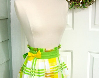 Up-Cycled Half Apron - Lime Green Plaid with Yellow Bow