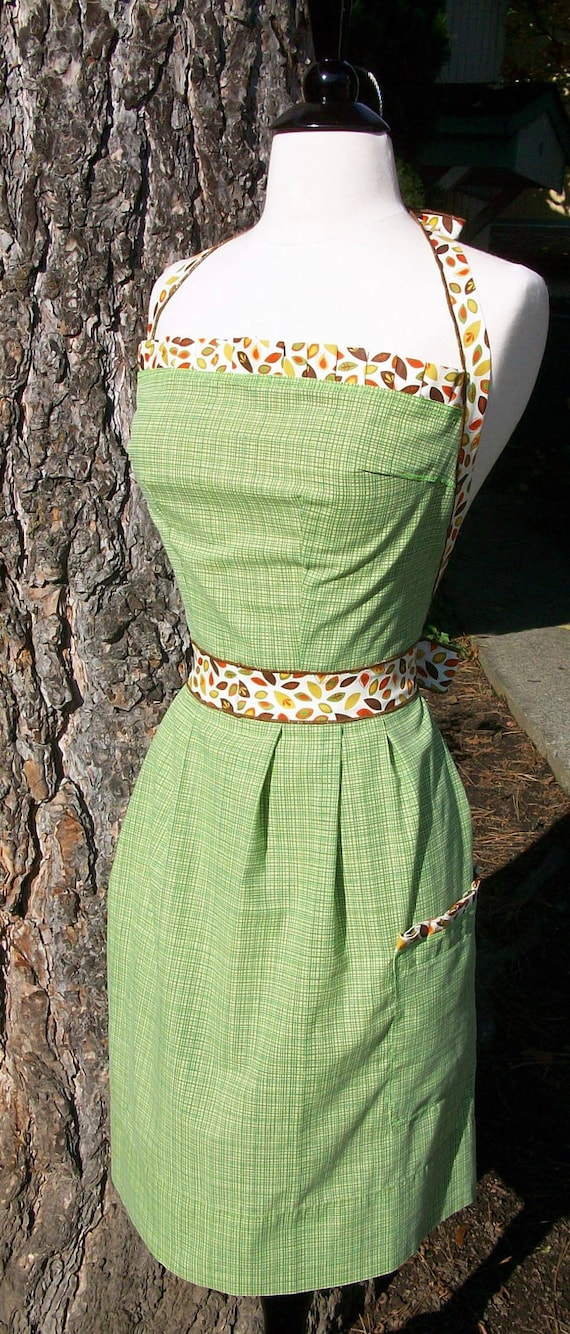 Up-cycled Womens Apron - Green Plaid and Fall Leaves
