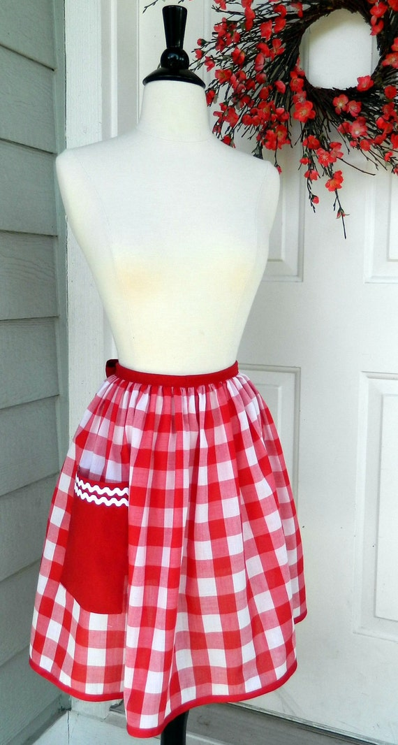 Up-Cycled Half Apron- 50's Style Red and White Gingham