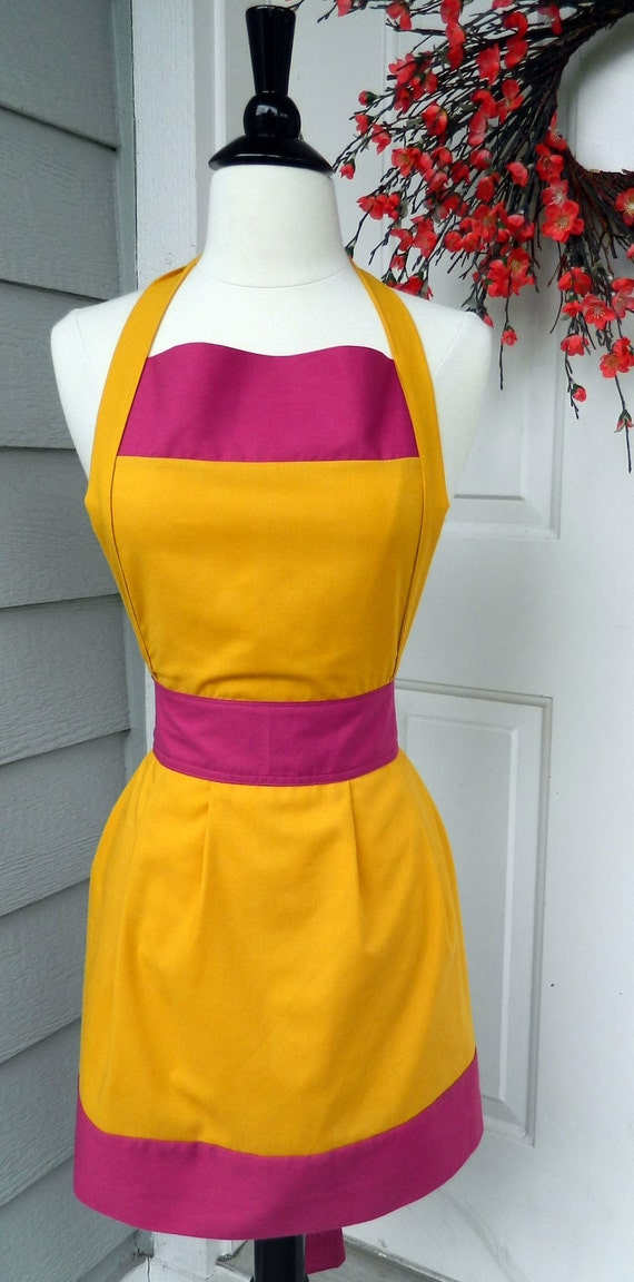 Up-Cycled Women's Apron- Goldenrod & Fuchsia Color Blocks